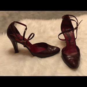 YVes Saint Laurent vintage strap deep red heels